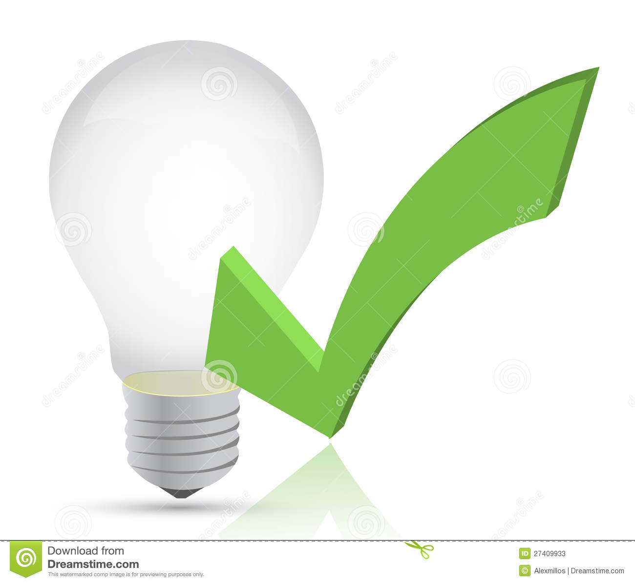 Check Out The Lights Over The: Light Bulb And Check Mark Illustration Stock Photos