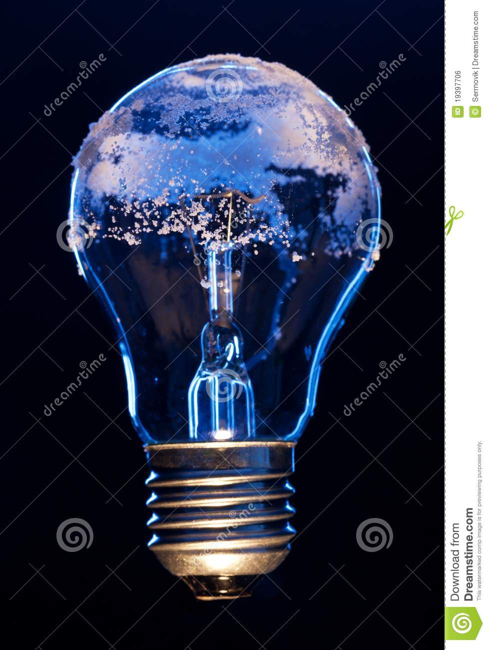 light bulb covered with ice stock photo image of solution power