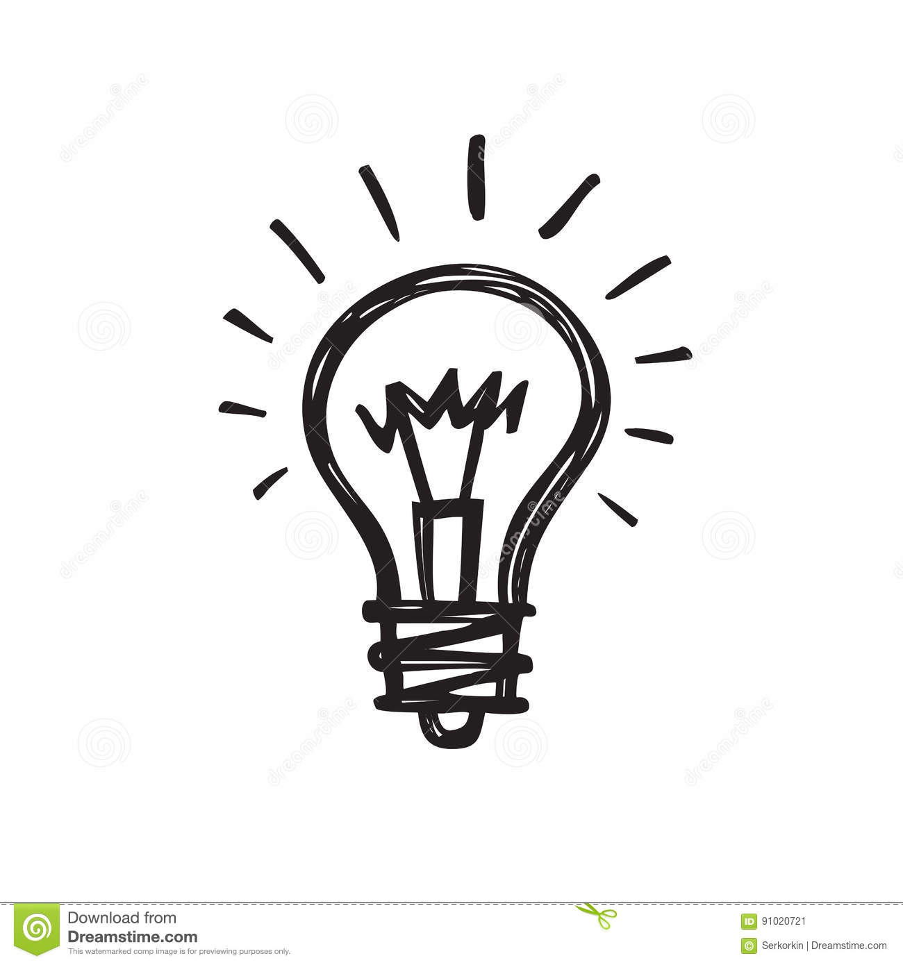Light Bulb - Creative Sketch Draw Vector Illustration. Electric Lamp ... for Lamp Bulb Drawing  111ane