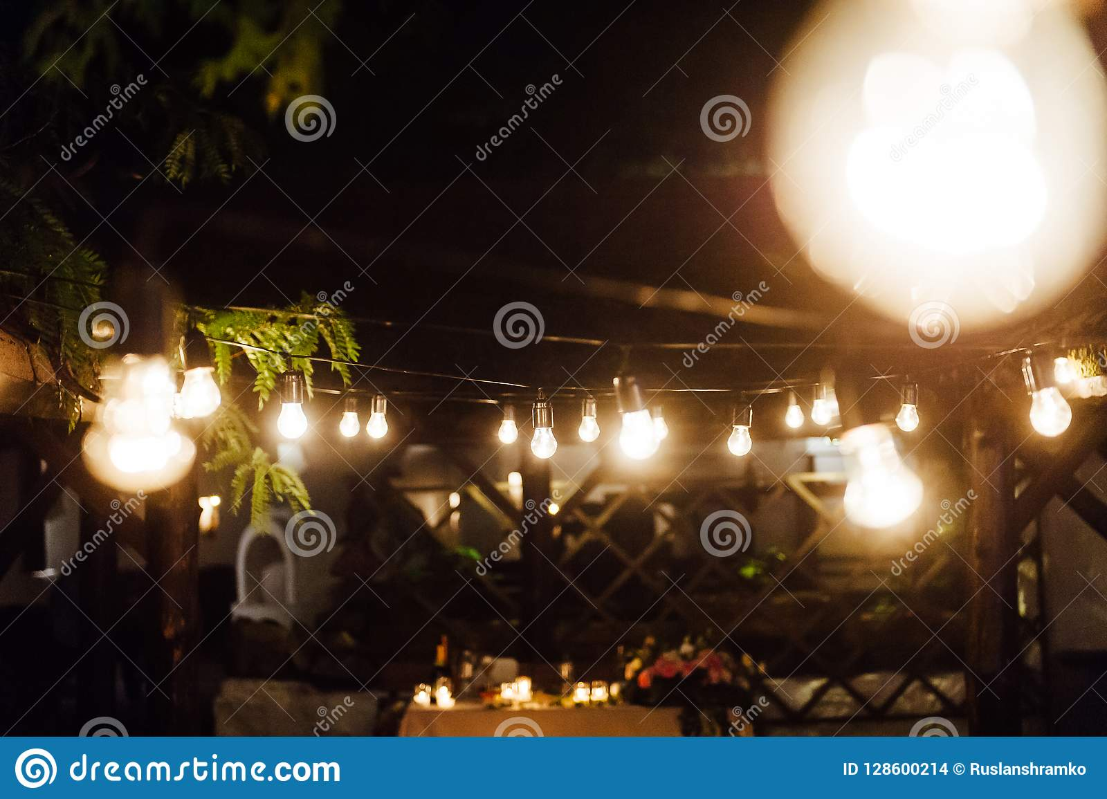 Light Bulb Decor In Outdoor Party Wedding Stock Photo Image Of Festival Illumination 128600214