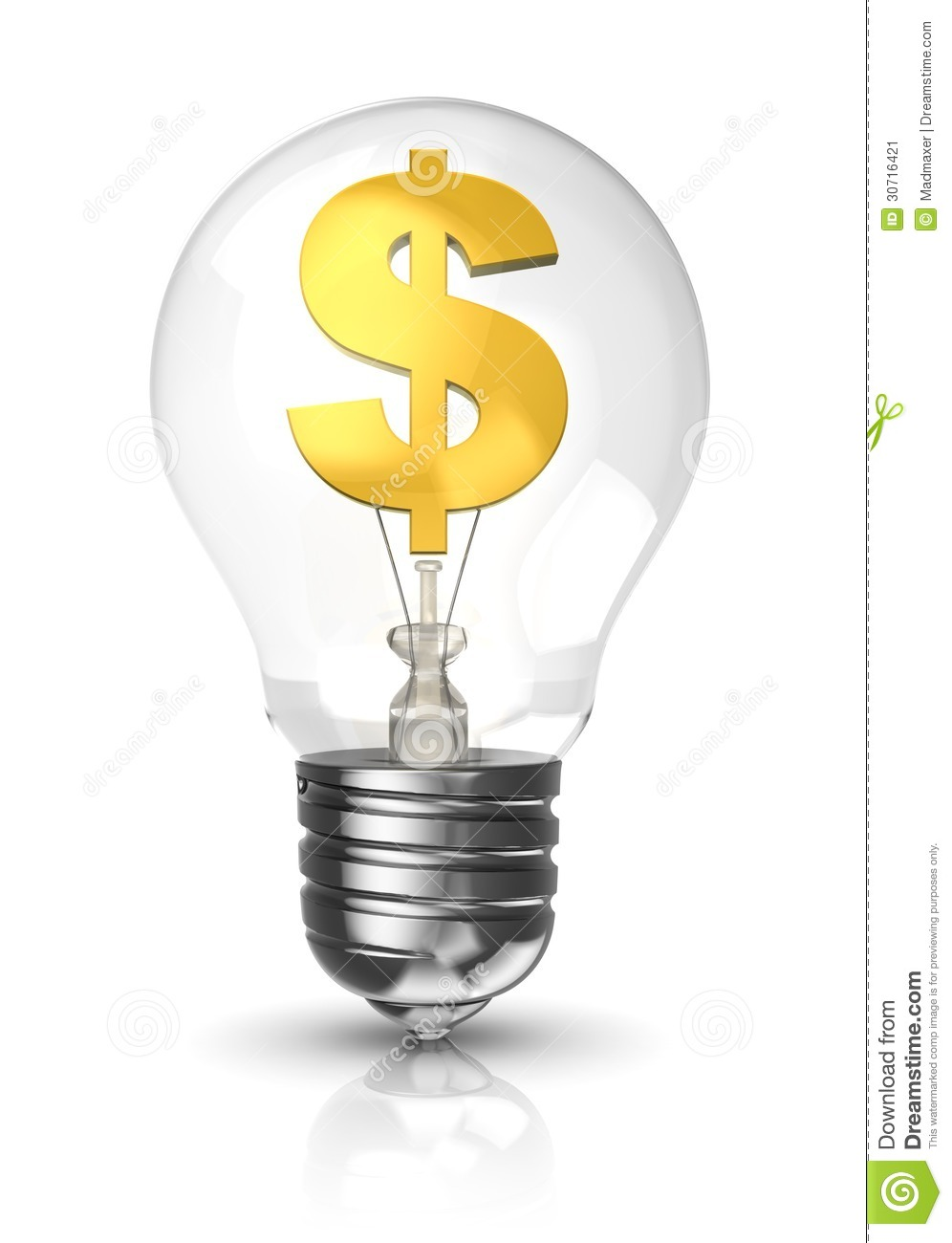 Light Bulb With A Dollar Sign Stock Image Image 30716421