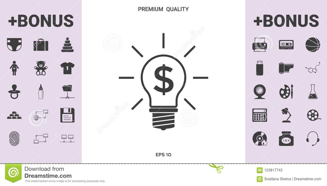 Light Bulb With Dollar Symbol Business Concept Stock Vector