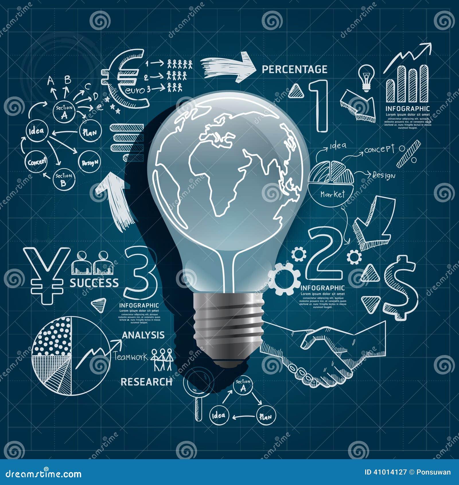 light bulb doodles line drawing stock vector