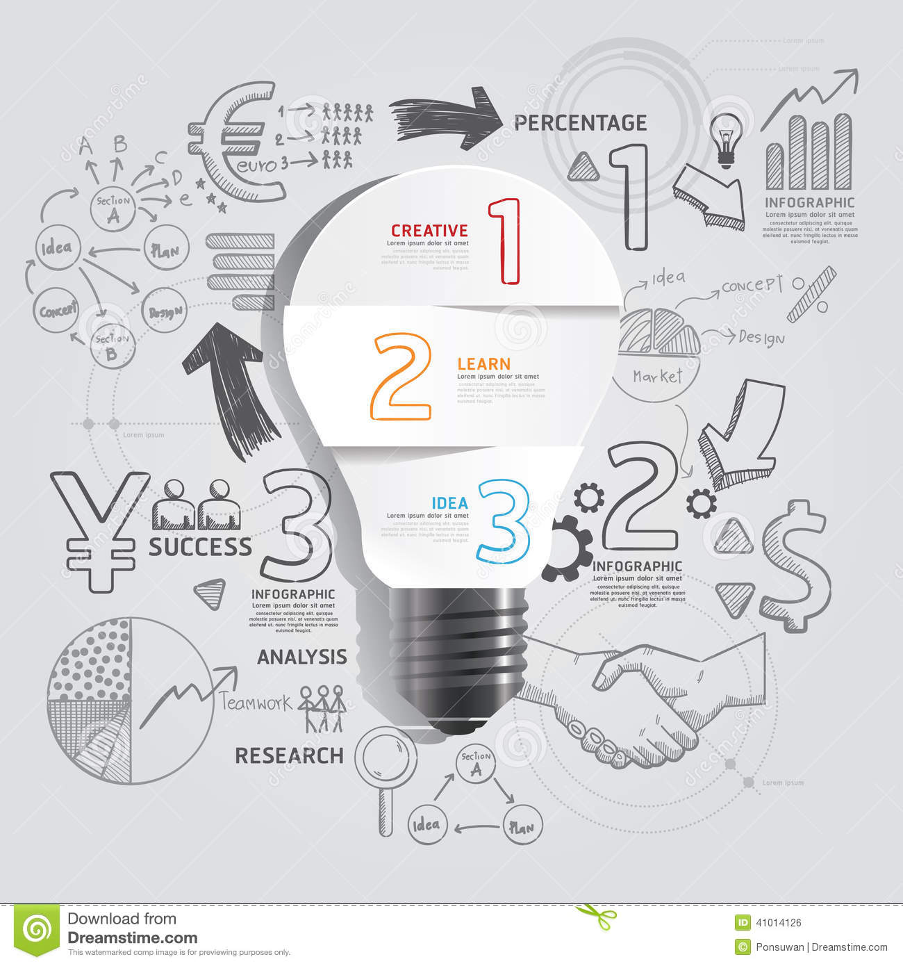 Light bulb doodles line drawing success strategy plan idea for Concept design and planning