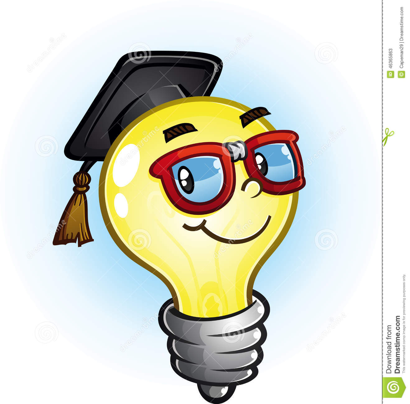 Light Bulb Education Cartoon Character Stock Vector
