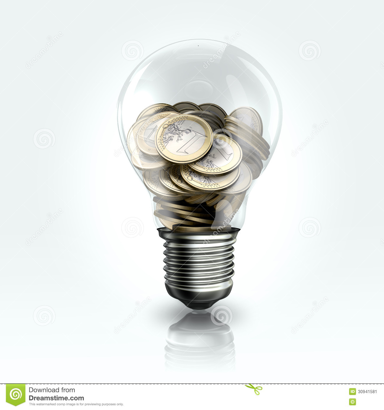 A Light Bulb With Euro Coins Inside Stock Image Image 30941581