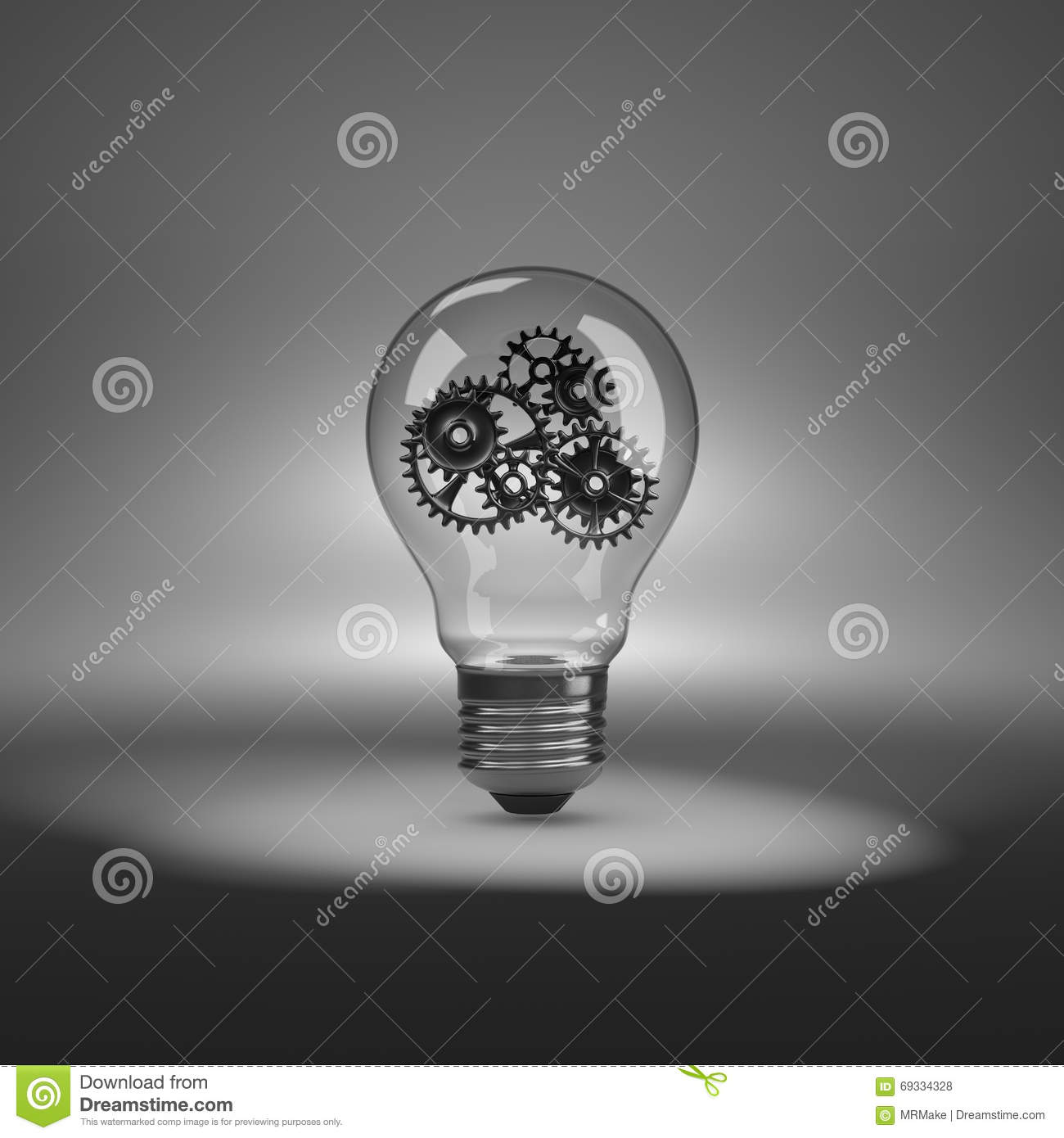 Light Bulb With Gears Inside Stock Illustration - Illustration of ...