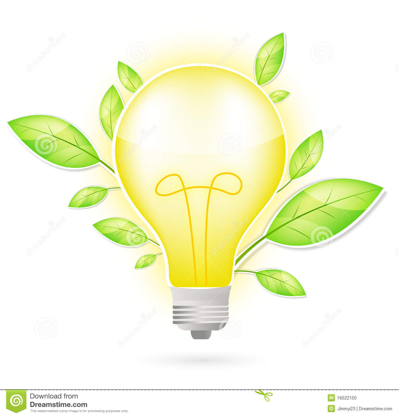 Light Bulb And Green Leaf Stock Vector Image Of Globe 16522150