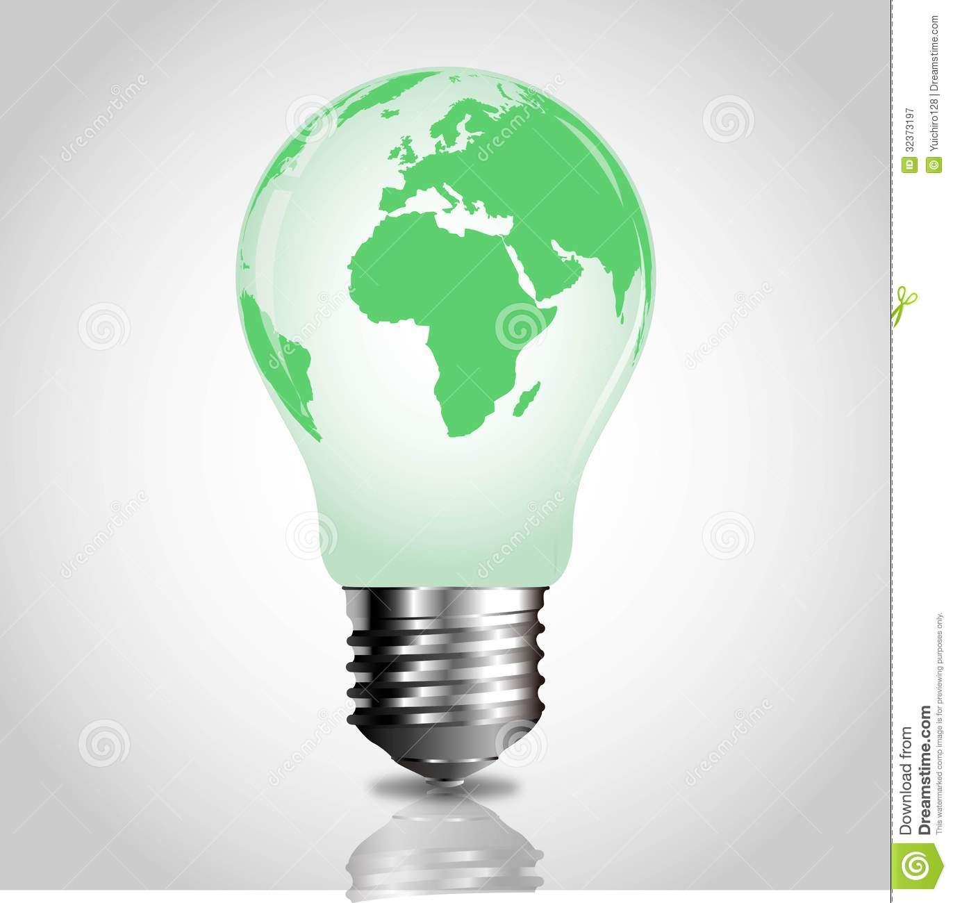 World In A Bulb Light bulb with green world
