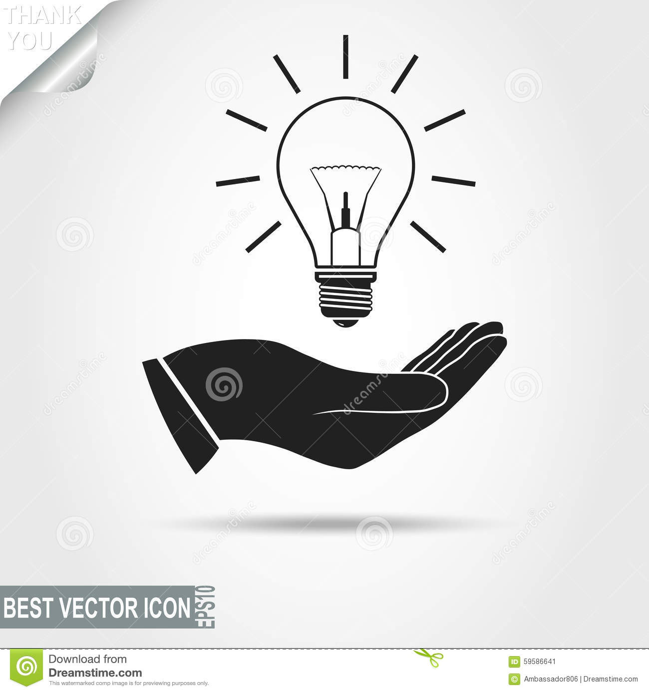 Light Bulb In Hand Icon Stock Vector Image 59586641