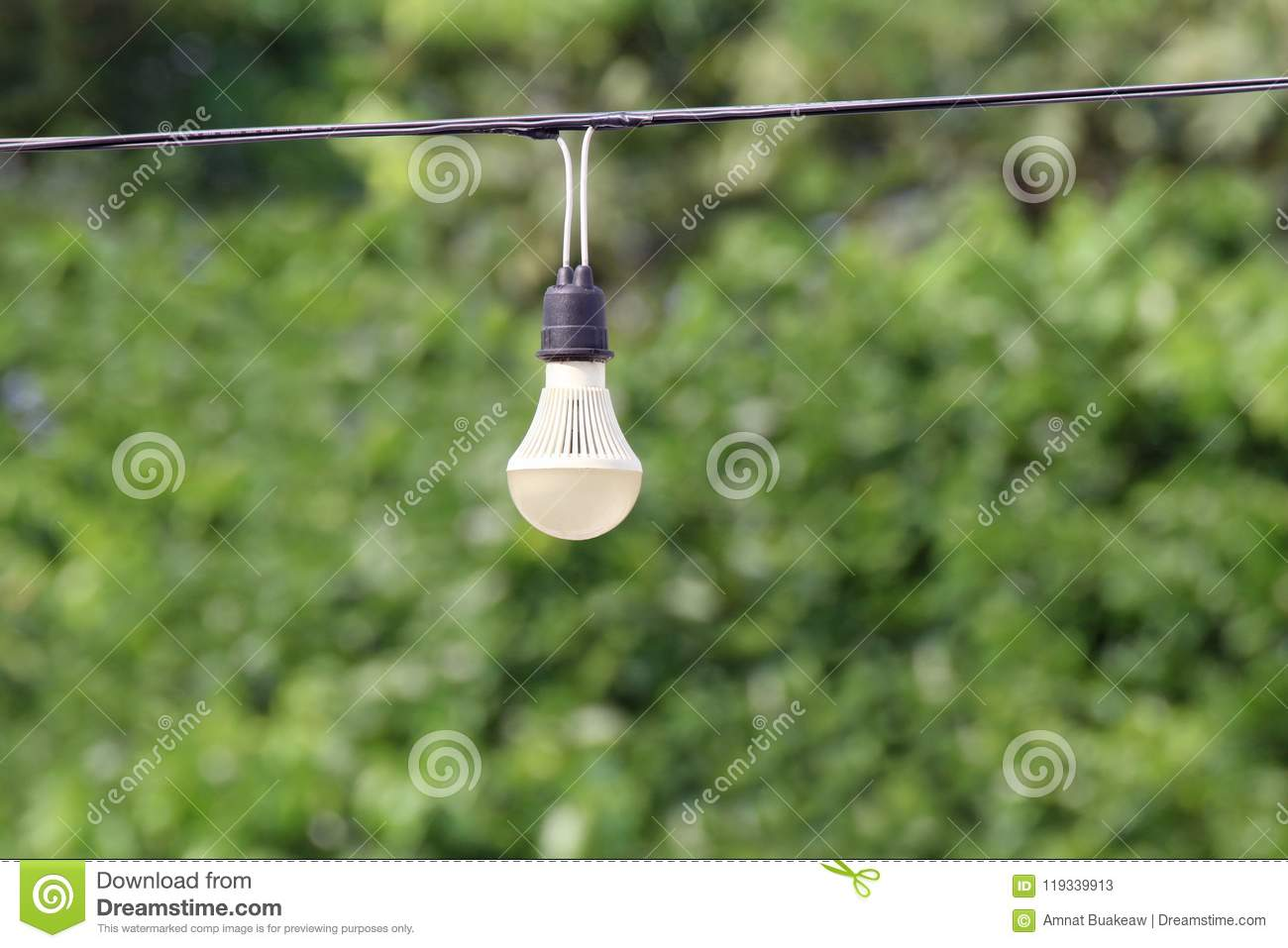 Light Bulb Hanging On The Cord Electric Wire Line Cable With Green Wiring A Fixture To Nature Tree Bokeh Lighting