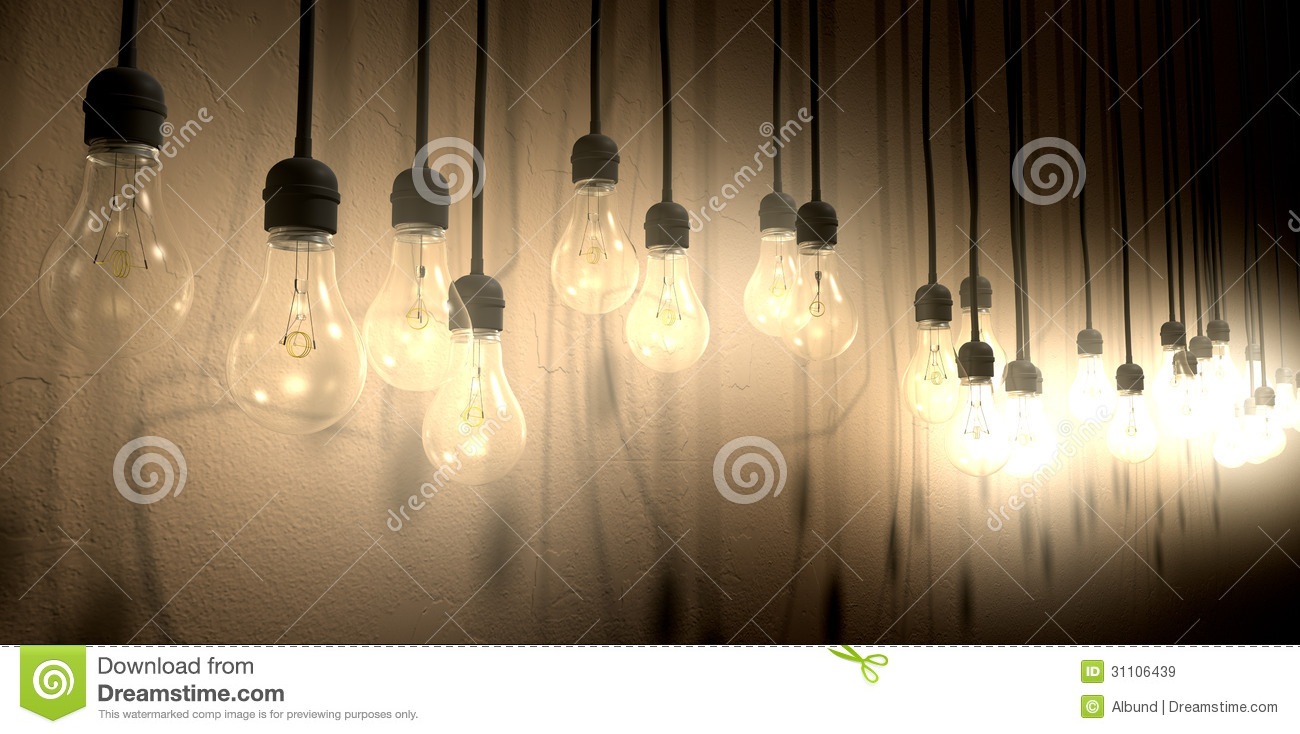 Lights Hanging On Wall : Light Bulb Hanging Wall Arrangement Perspective Royalty Free Stock Images - Image: 31106439