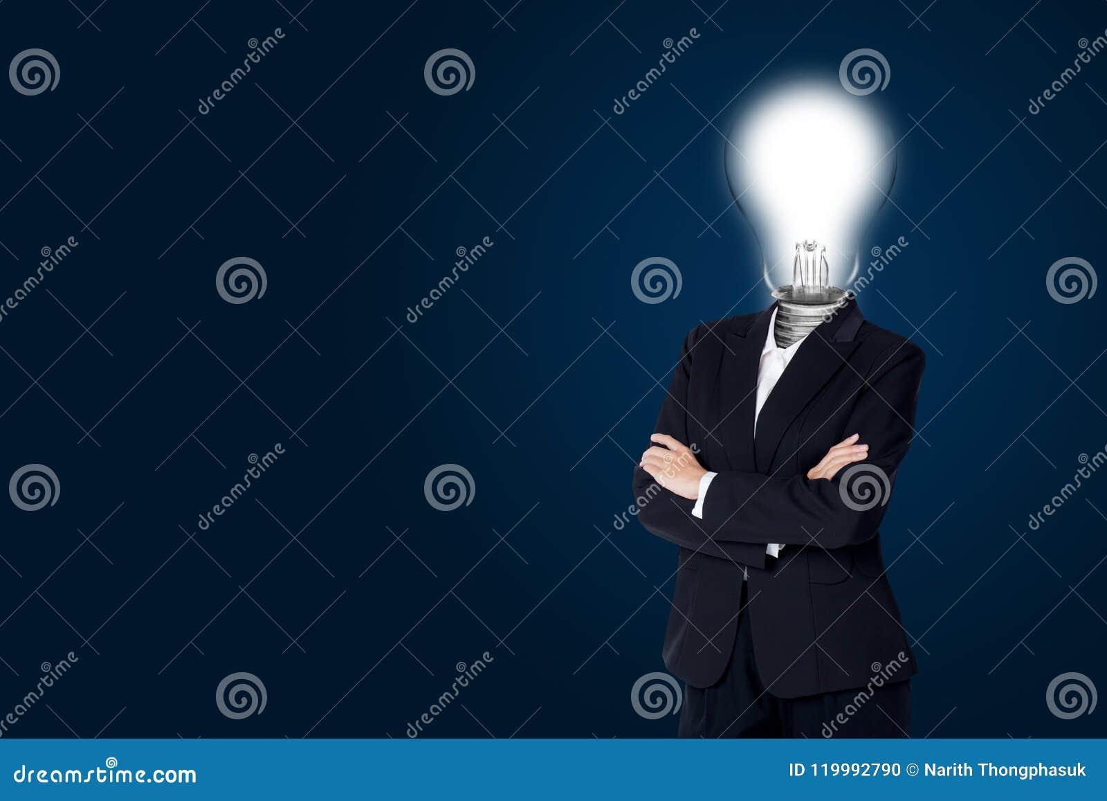 Light bulb of head business woman and have idea creativity