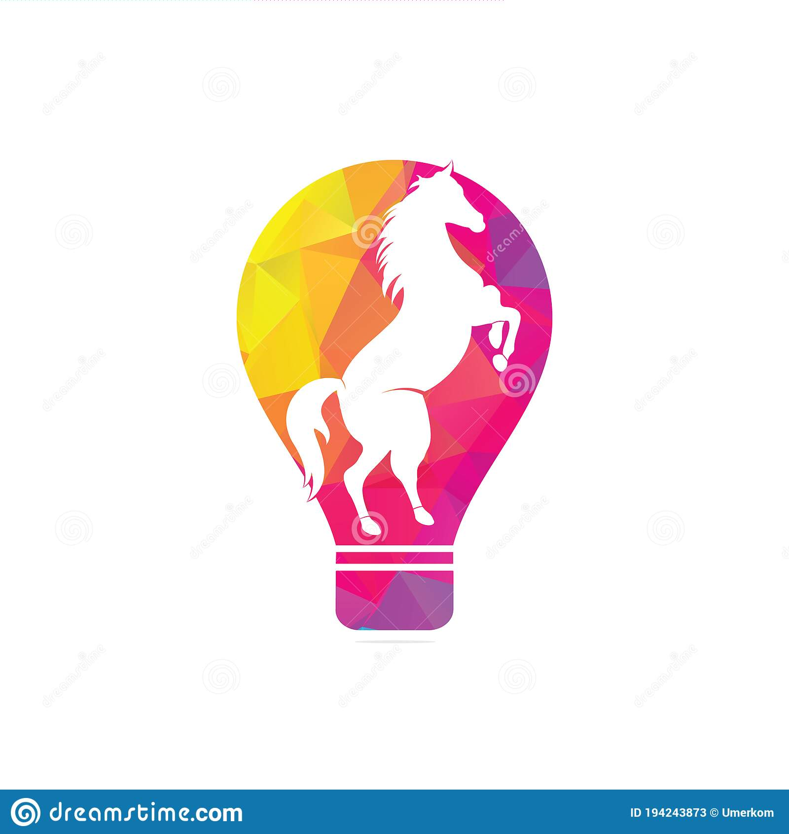 Light Bulb And Horse Logo Design Stock Vector Illustration Of Icon Horse 194243873