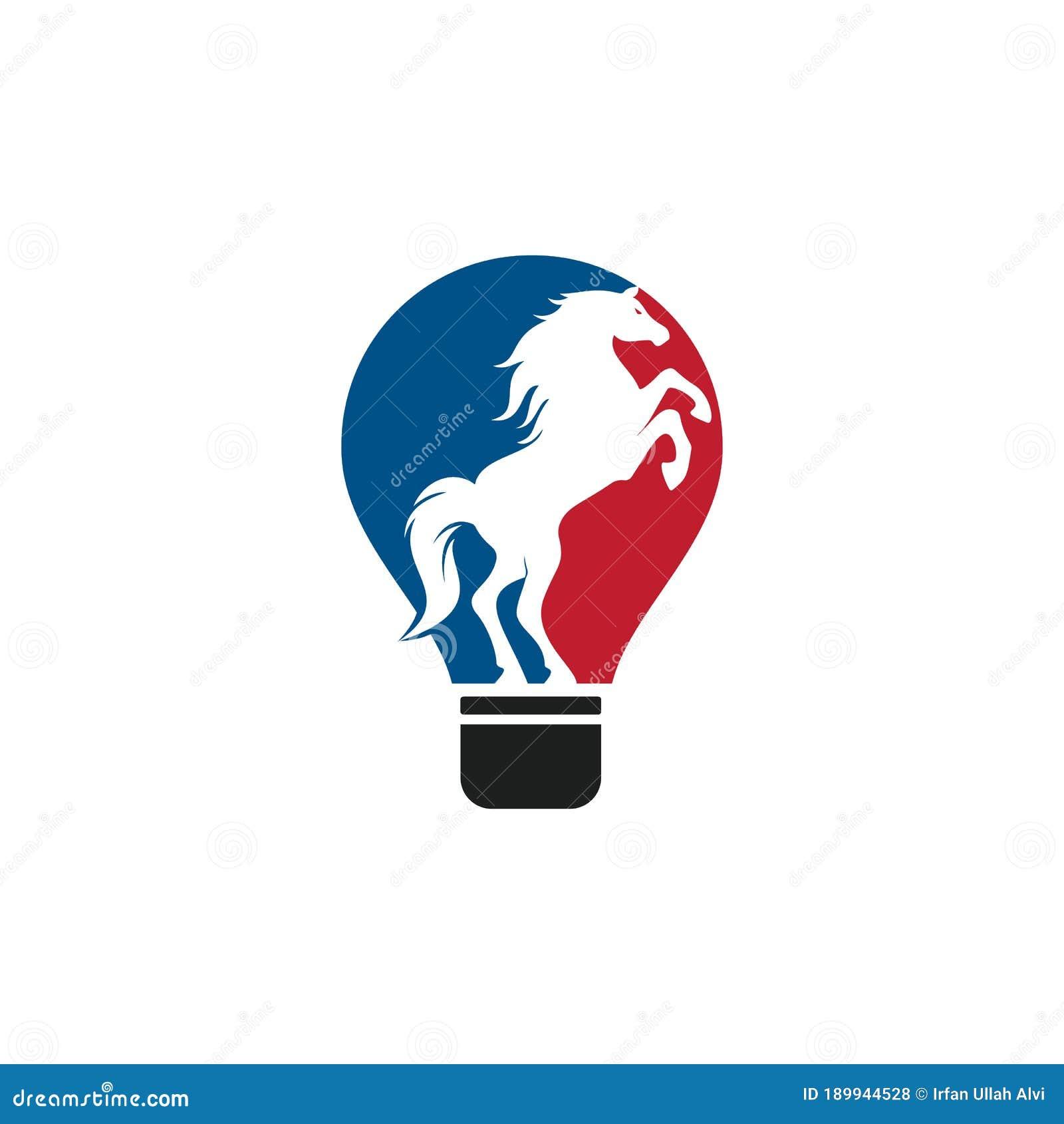 Light Bulb And Horse Logo Design Stock Vector Illustration Of Background Innovation 189944528