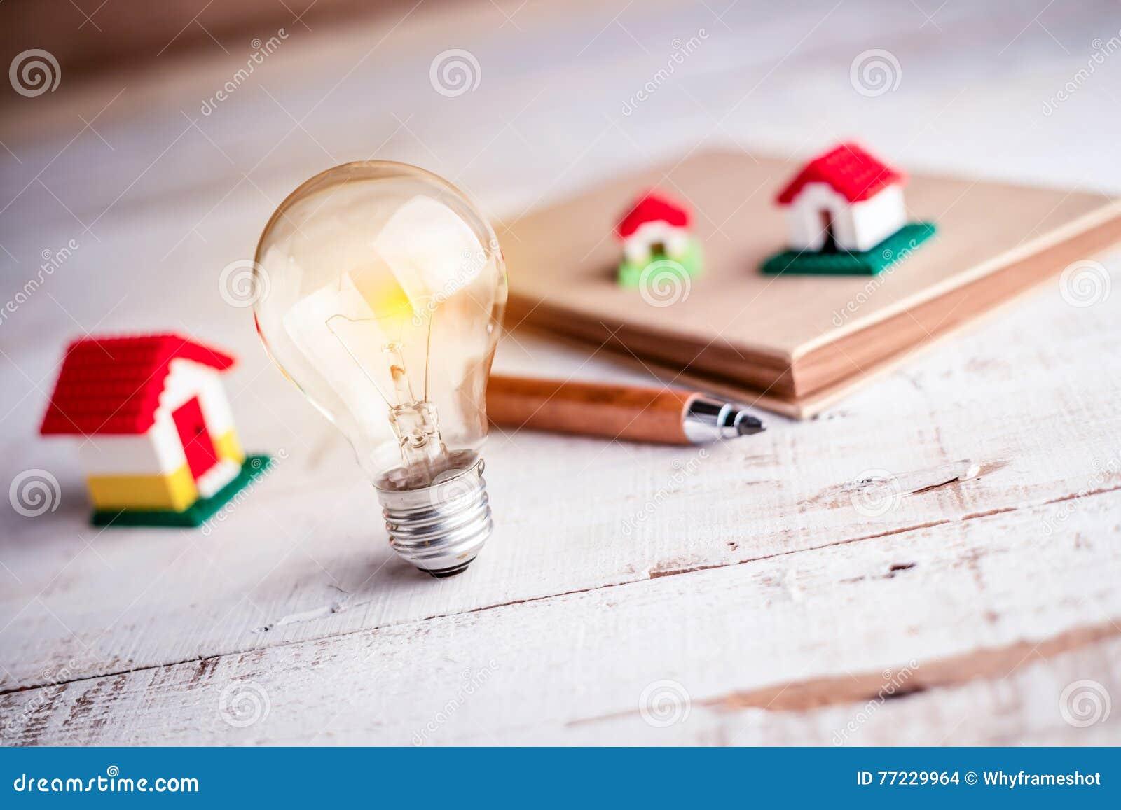Light bulb and house model