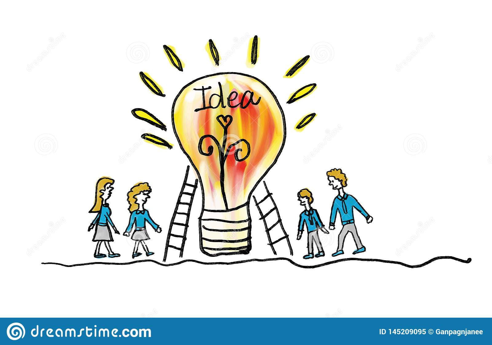 light bulb icon with business man and business woman vector illustration. creative idea concept, teamwork concept, doodle hand
