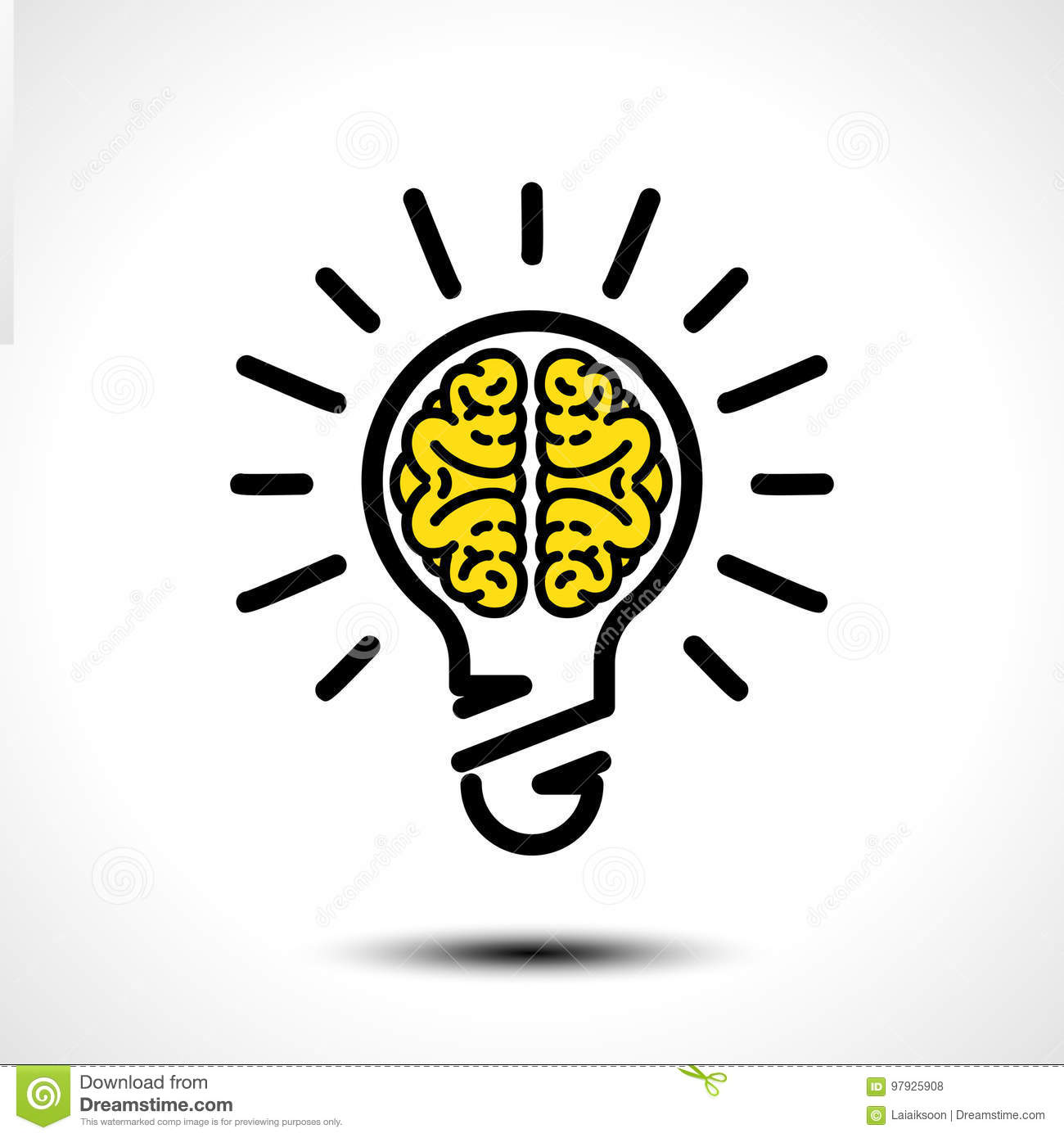Light bulb idea with brain vector logo template. Corporate icon such as logotype