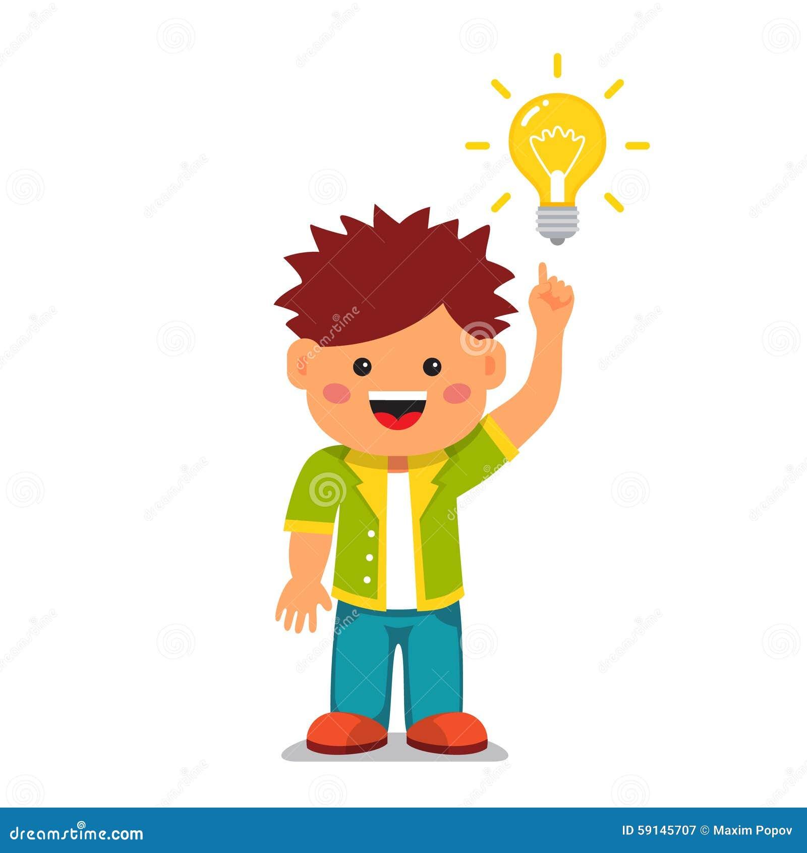 light bulb idea bright and smart kid concept stock vector