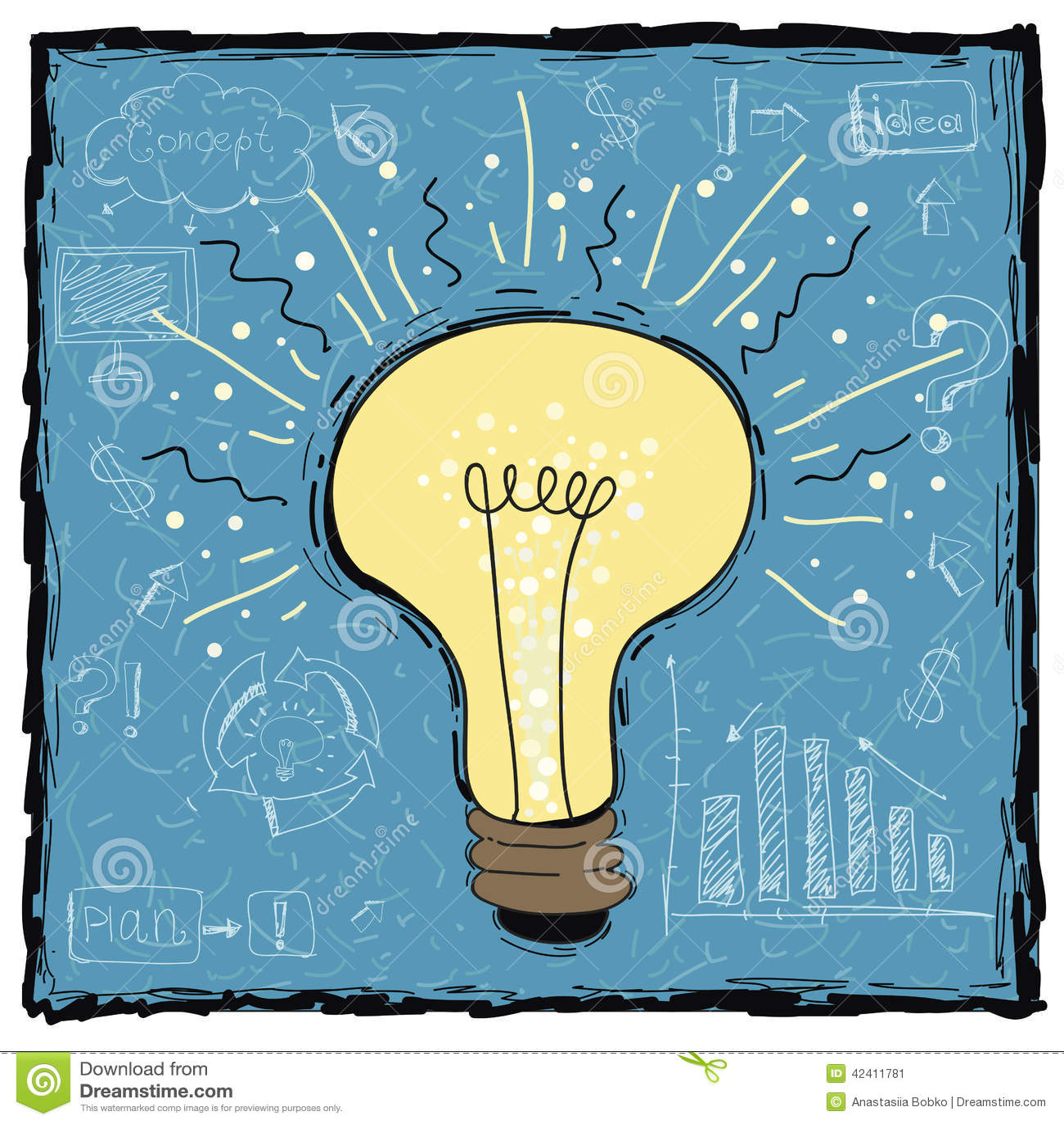 Light Process Company: Light Bulb Idea Concept Template. Vector Illustrat Stock