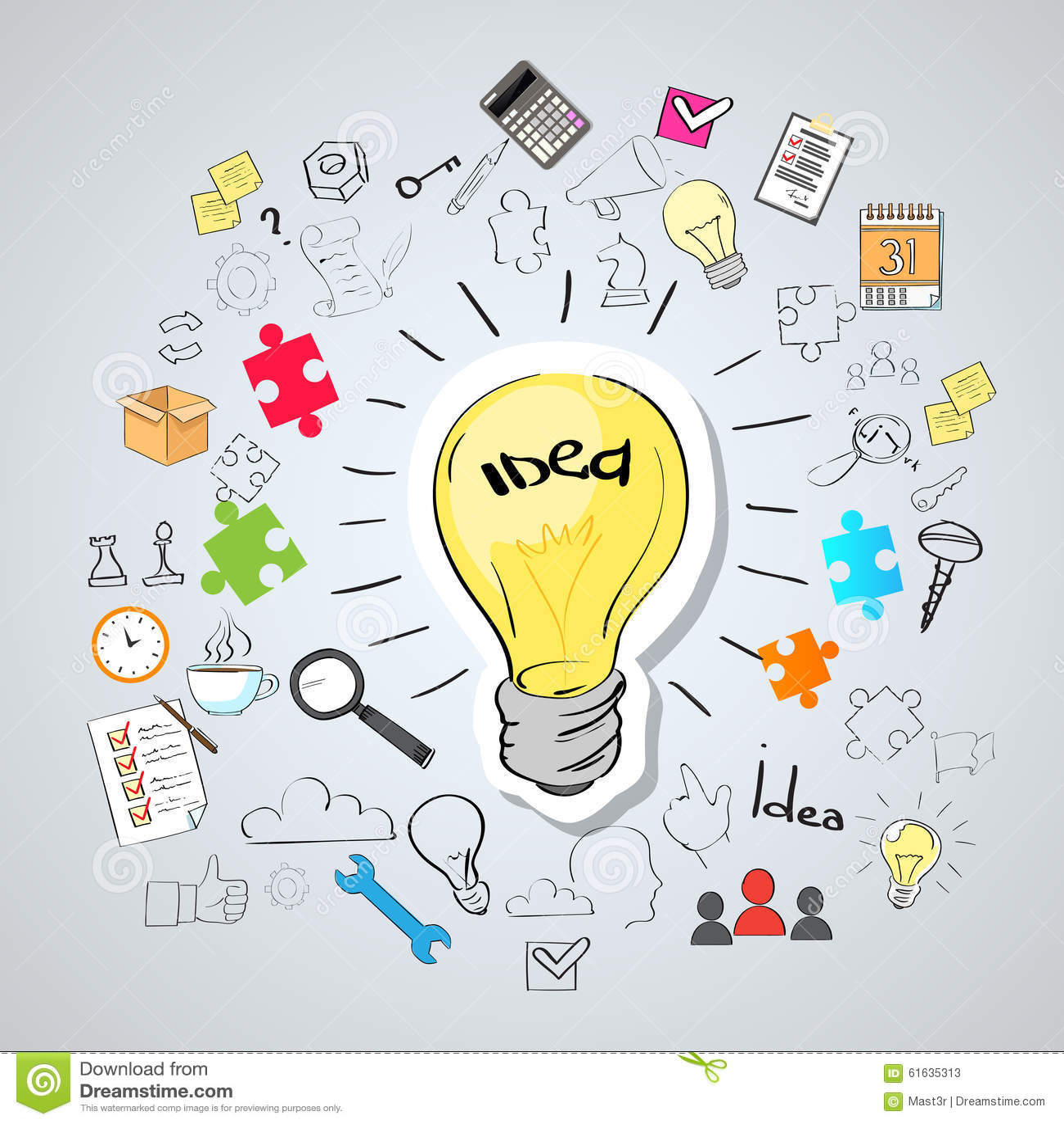 light bulb idea creative concept doodle stock vector
