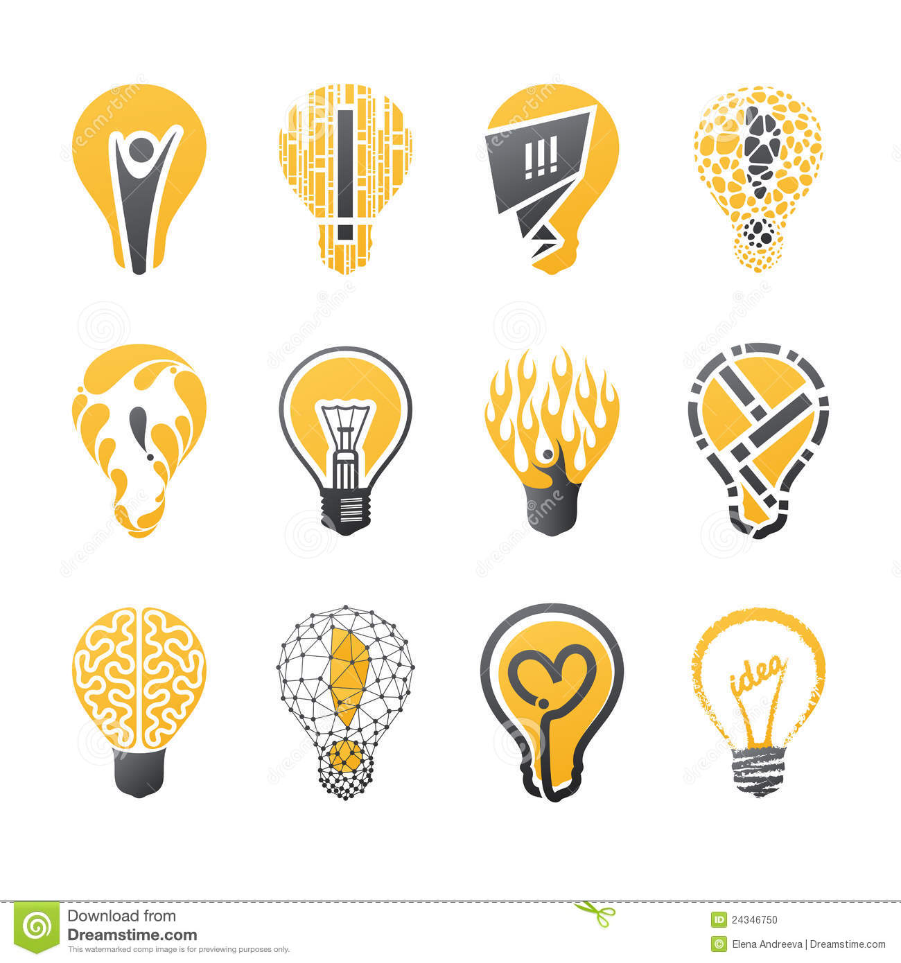 Light Bulb Idea Vector Logo Template Set Stock Photo Image