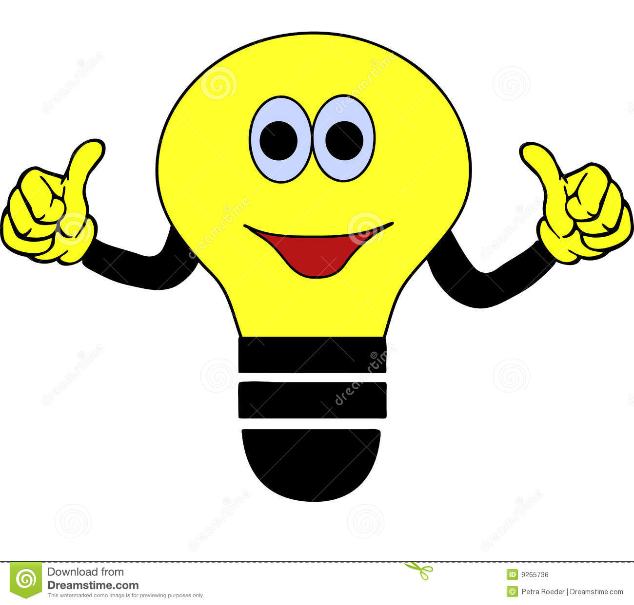 Cartoon illustration of a yellow and black light bulb with a smiling