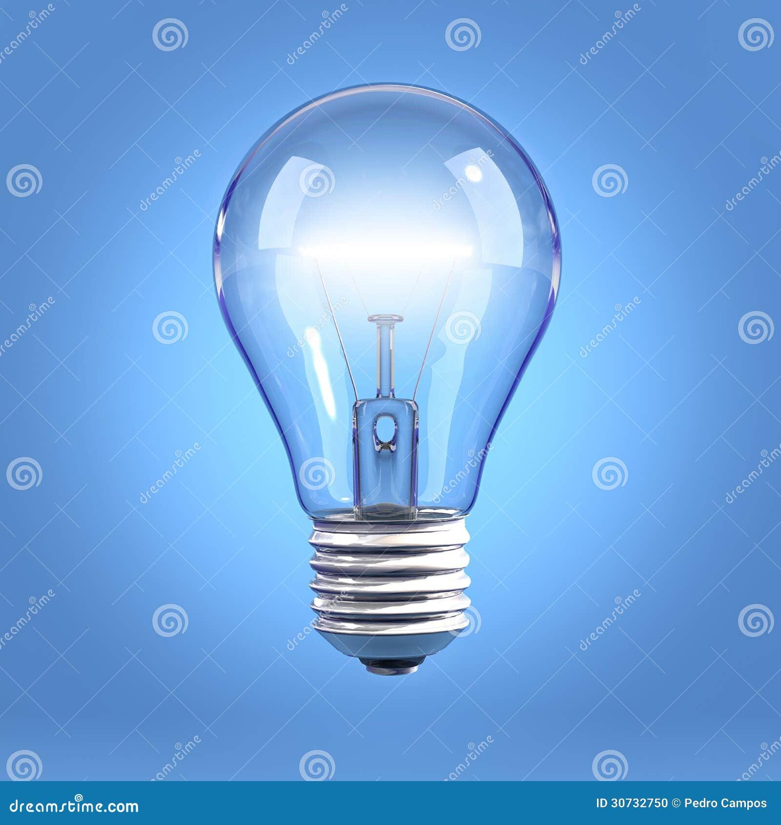 Light Bulb Wallpaper: Detail Of Light Bulb On Blue Background Royalty-Free Stock