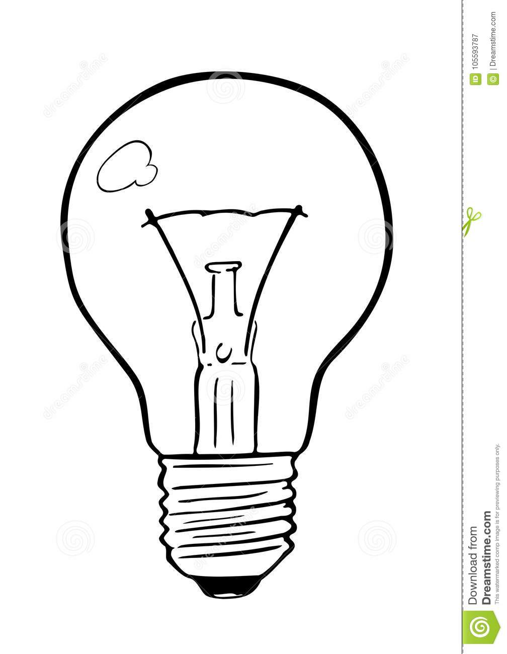 light bulb incandescent wire type stock vector