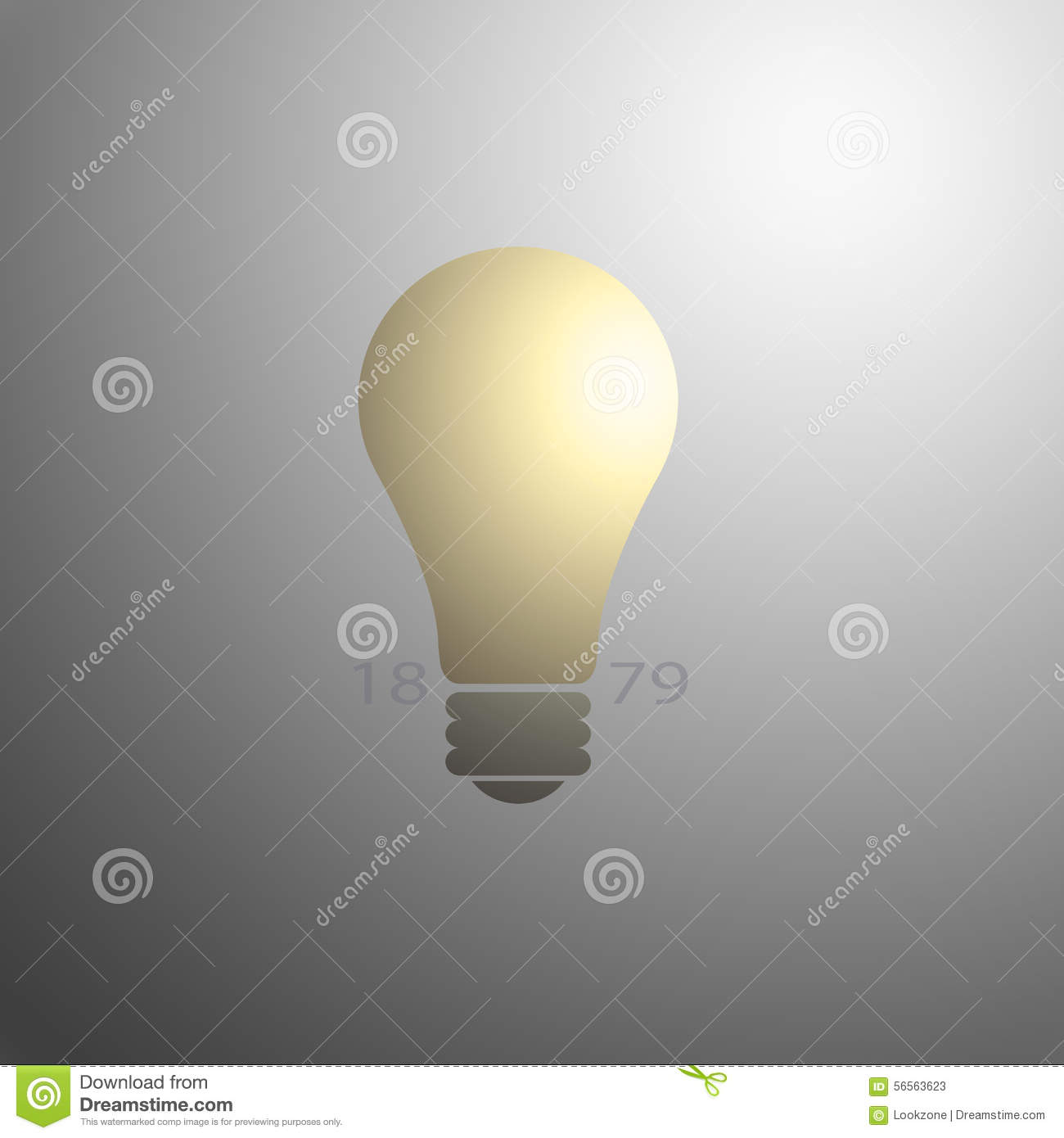 Light Bulb With Invention Date Stock Illustration - Image: 56563623:Light Bulb with Invention Date,Lighting