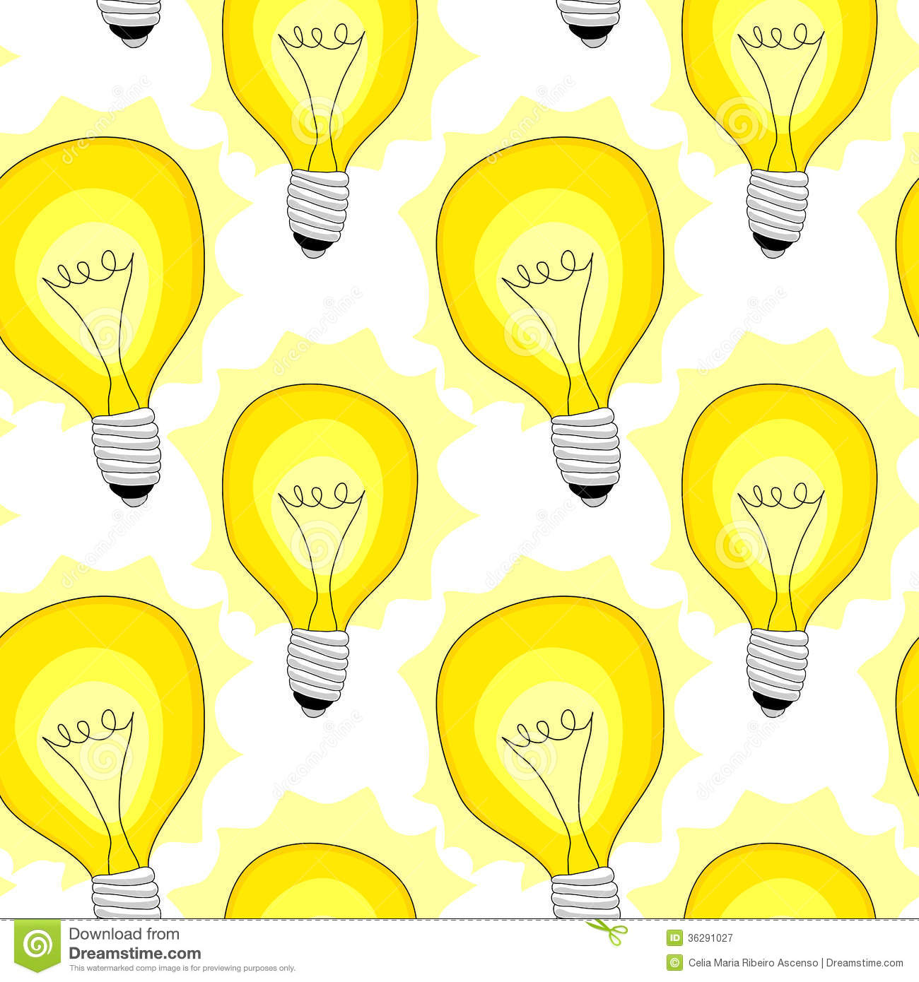 Light Bulb Lamps Seamless Pattern Background Royalty Free ...