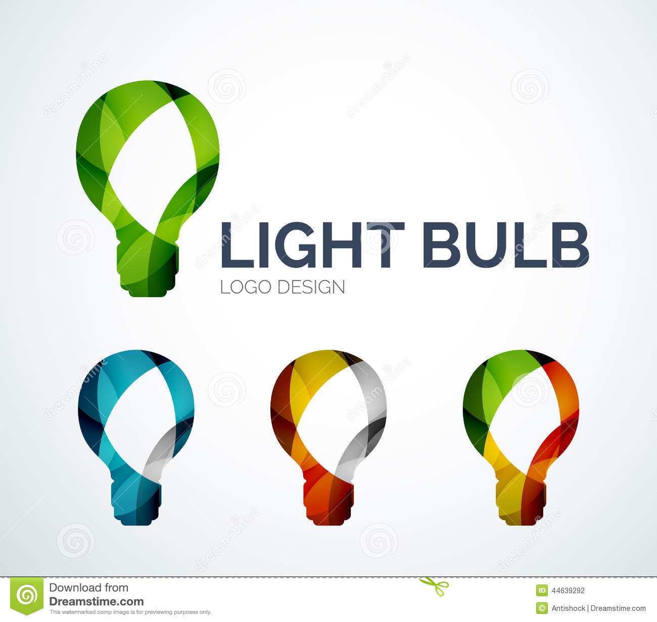 Light bulb logo design made of color pieces
