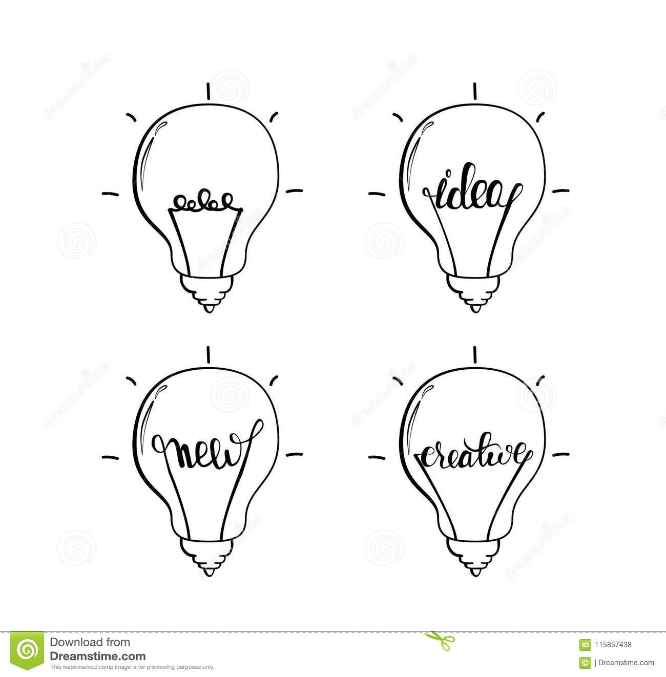 Light bulb logos black and white color