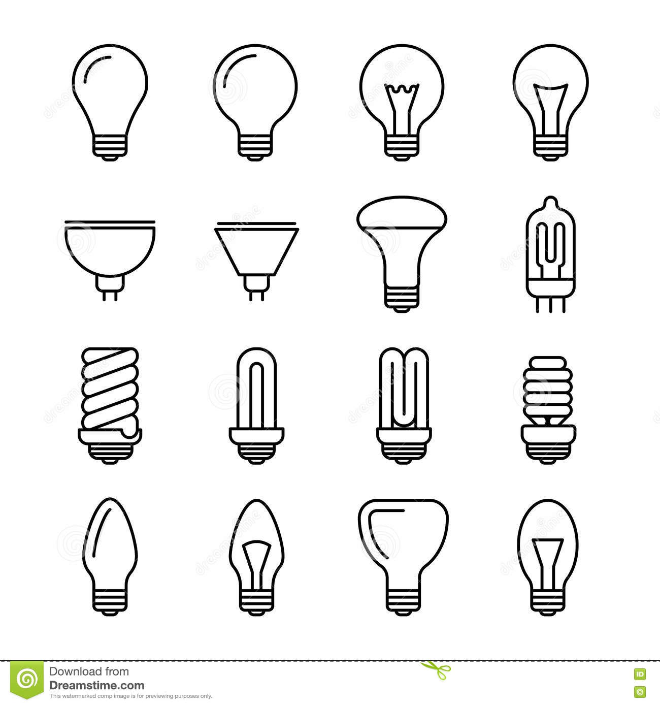 light bulb outline vector icons stock vector