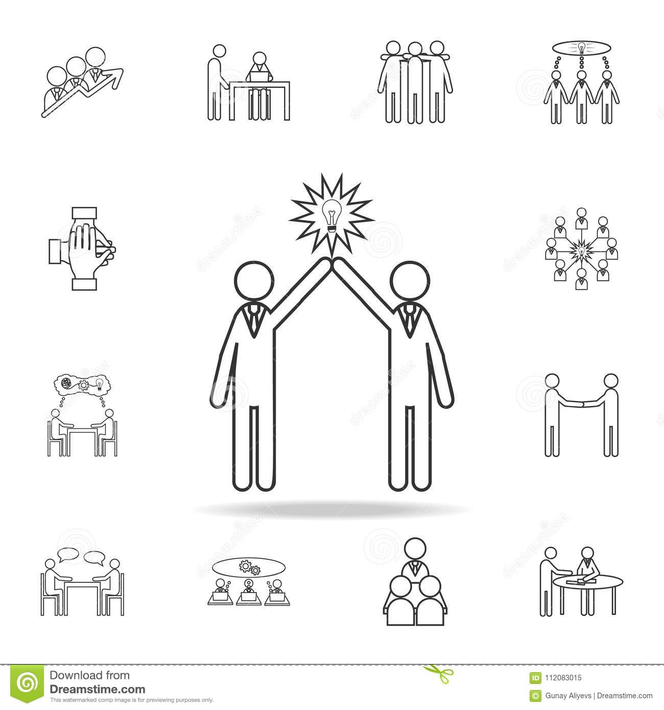 Light bulb people concept of two people icon. Detailed set of team work outline icons. Premium quality graphic design icon. One of