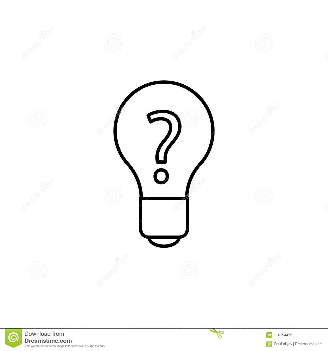 Light Bulb With A Question Icon  Element Of Web Icon For Mobile