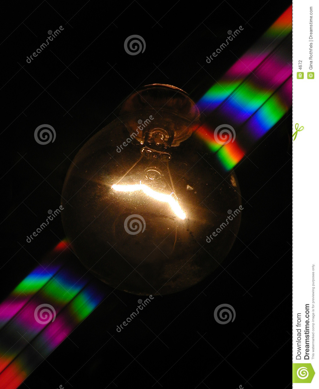 Light bulb and rainbow