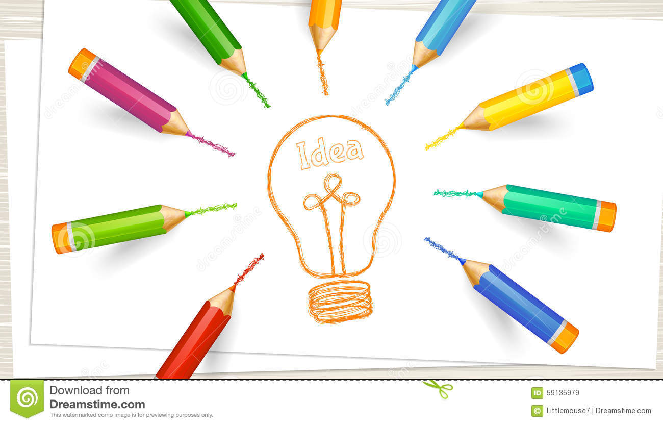Pencil Paper Icon Light Bulb, Sheets Of ...
