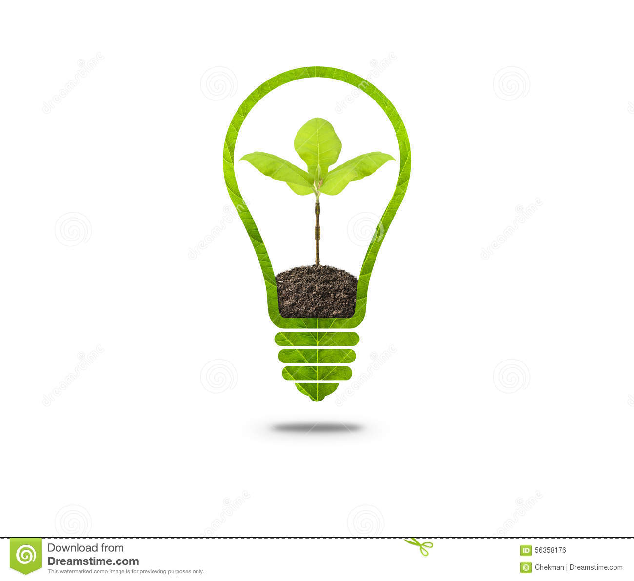 Light bulb with sprout inside stock illustration image for Soil and green