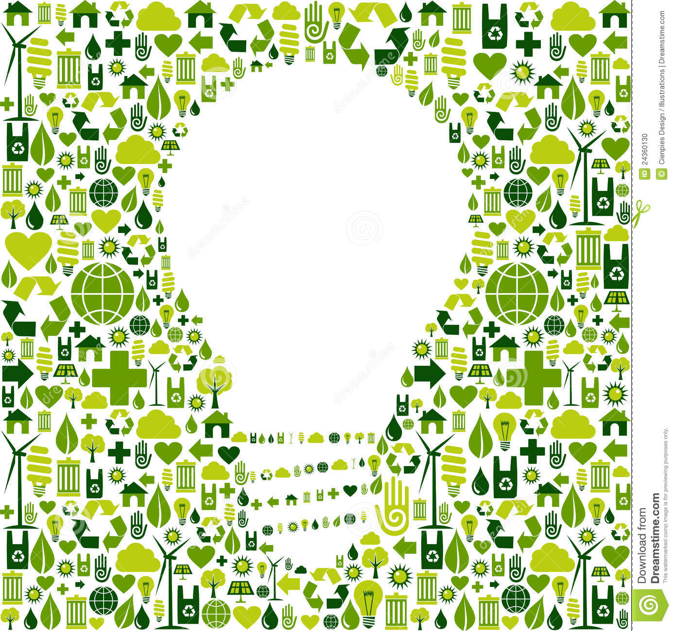 Light Bulb Symbol With Green Icons Background Stock Vector