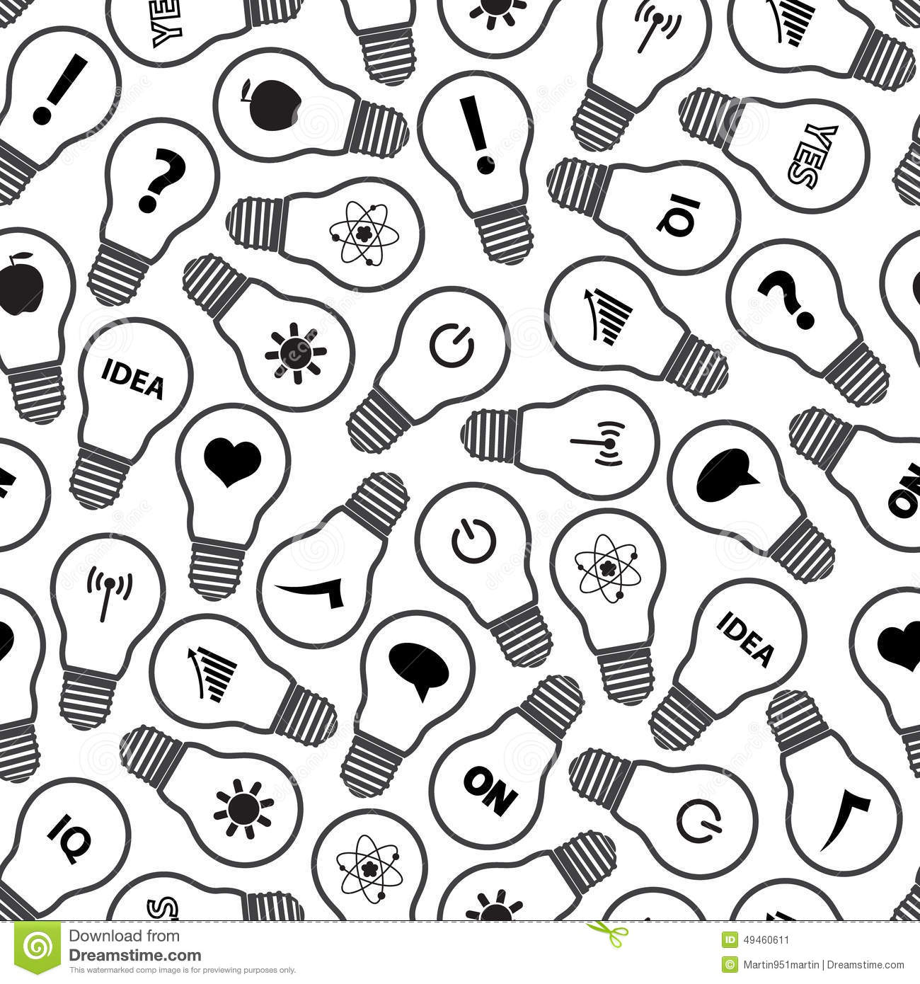 light bulb symbols with various idea icons pattern stock