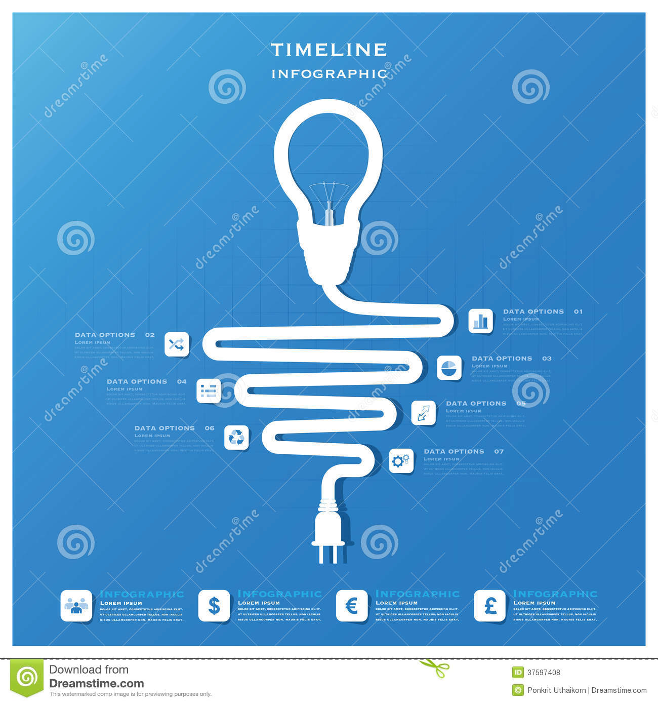 Light Bulb Timeline Business Infographic Design Template ...