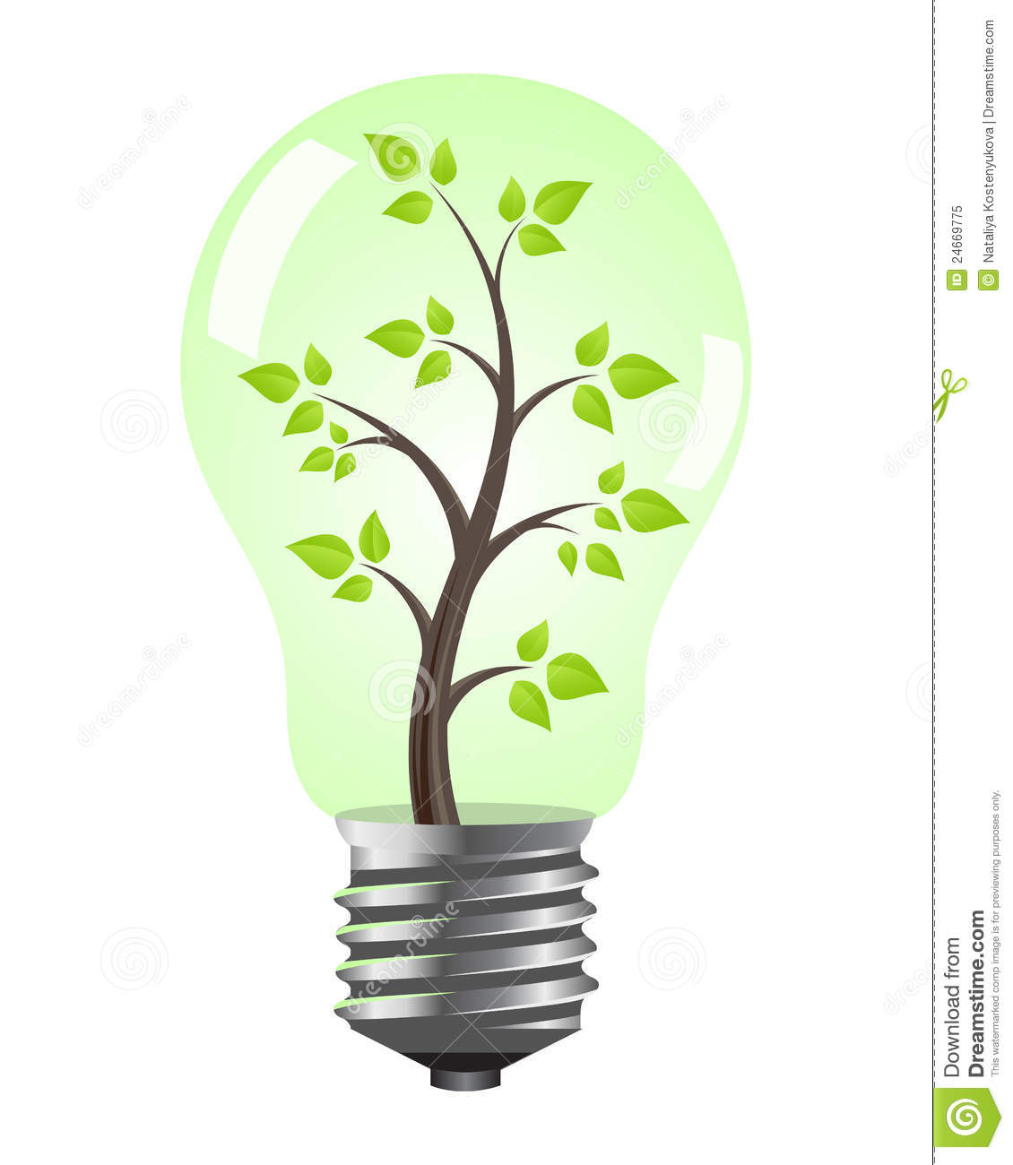 Light bulb with tree stock vector. Image of alternative ...