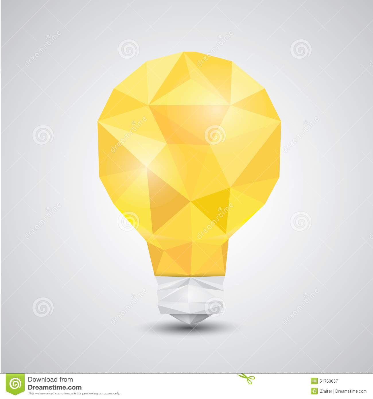 Light Bulb Vector Icon Low Poly Style Stock Vector