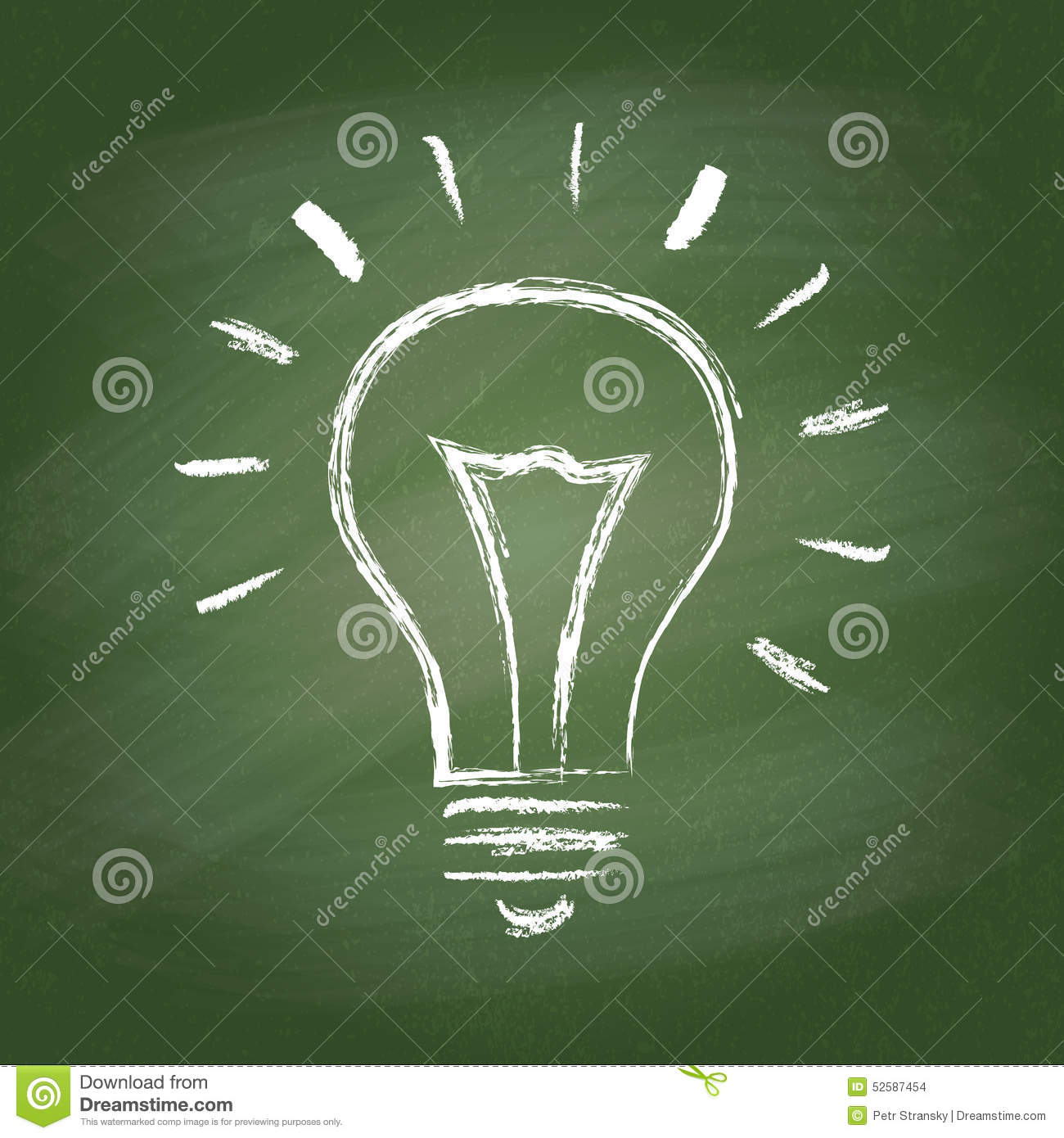 Set Of Hand Drawn Light Bulbs Symbol Of Ideas Stock: Light Bulb Vector Idea Chalk Icon On Green Stock Vector