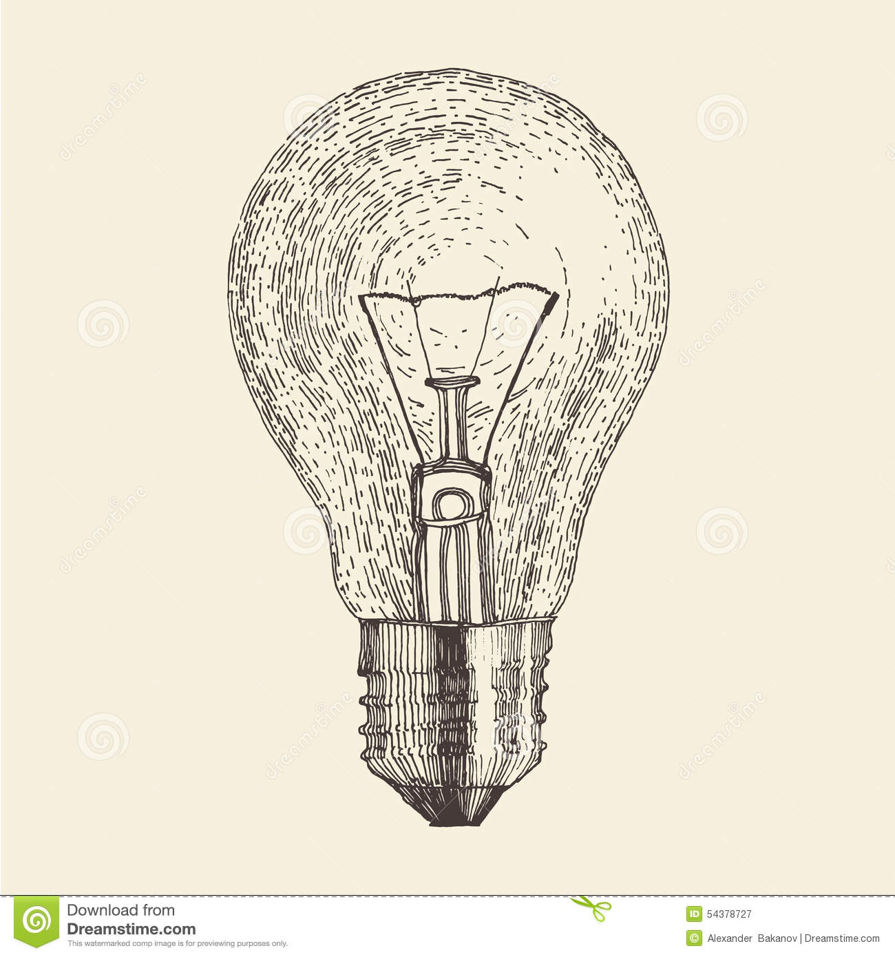 Set Of Hand Drawn Light Bulbs Symbol Of Ideas Stock: Light Bulb Vintage Engraved Illustration Stock
