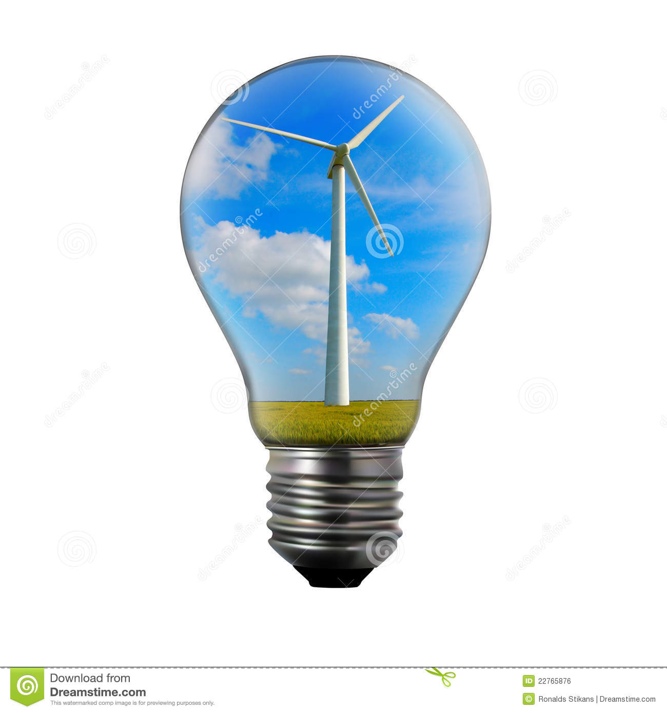 Light Bulb With Wind Mill Generator Inside. Royalty Free Stock Image ...
