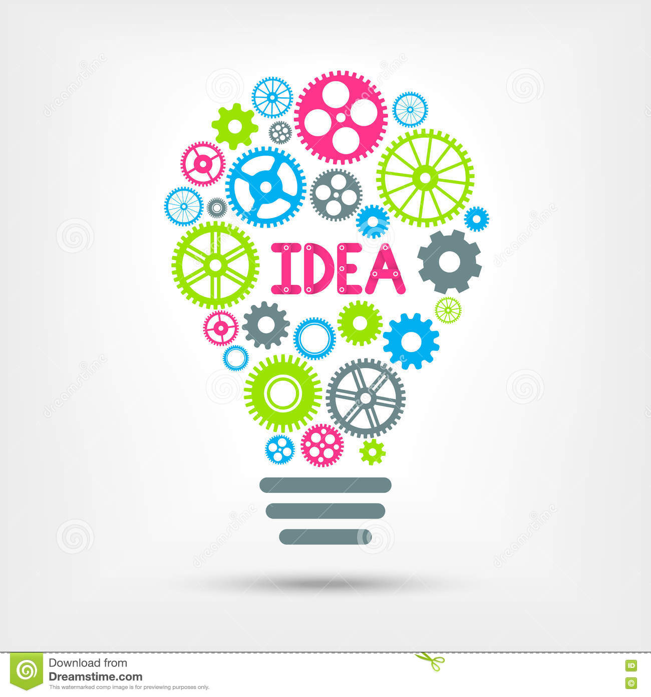 Idees And Solutions: Light Bulb With Word And Colorful Gears Inside. Vector