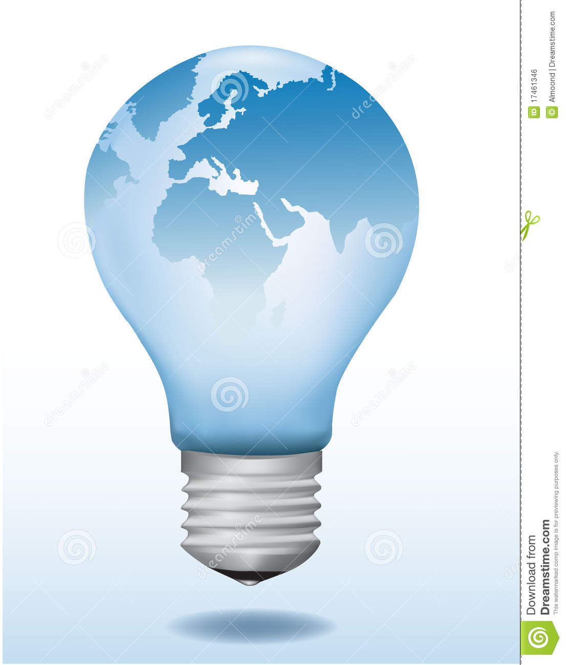 Light Bulb With World Map On It Stock Vector