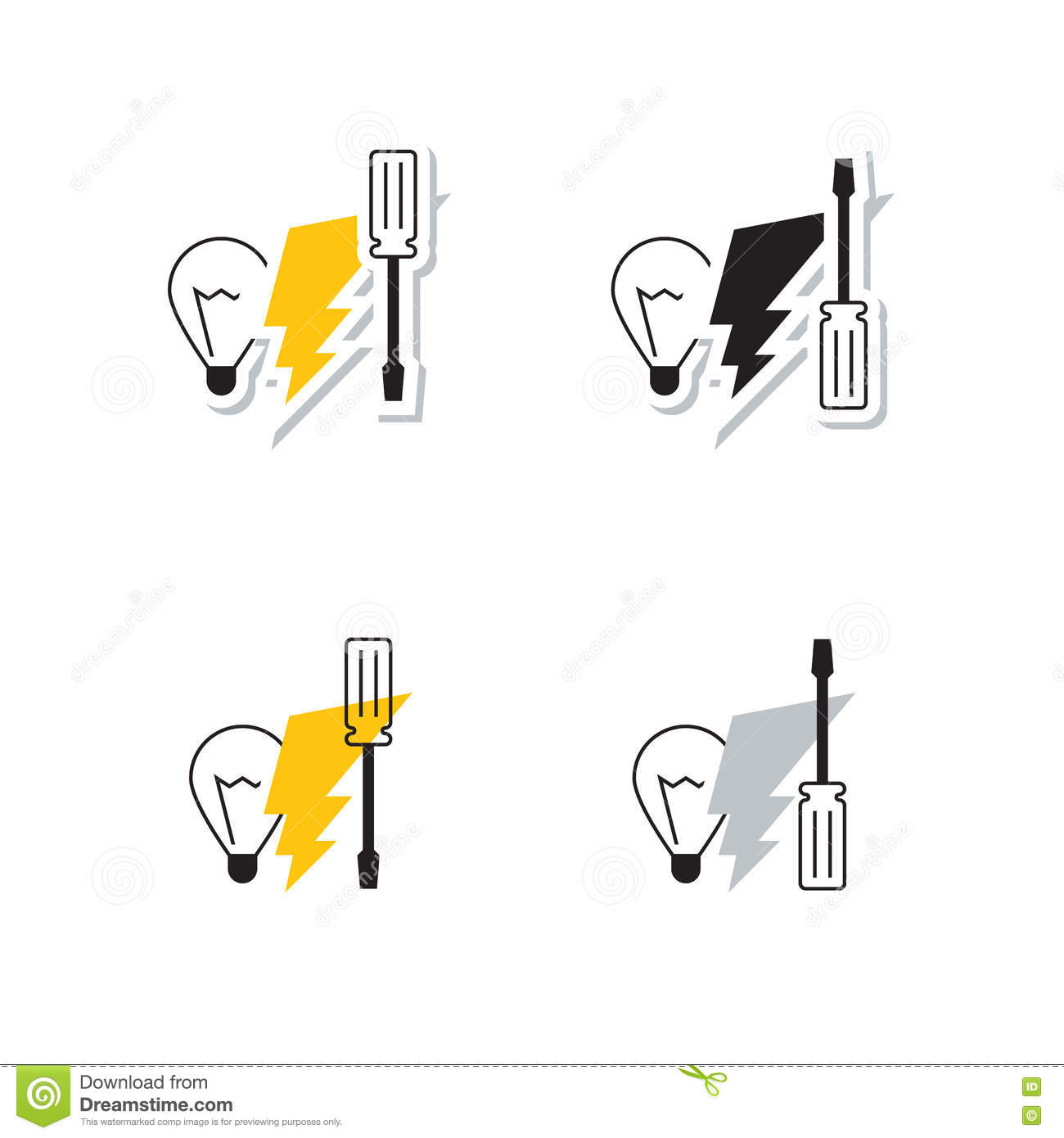 electrician tools logo vector illustration